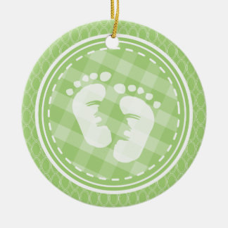 Baby Feet Baby Shower; Bright Green Ovals Christmas Tree Ornaments