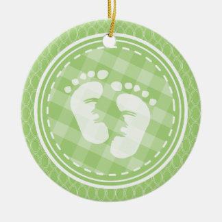 Baby Feet Baby Shower; Bright Green Ovals Round Ceramic Decoration