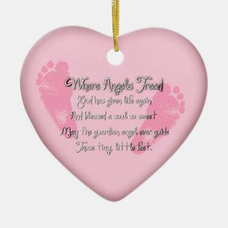 Baby Feet Birth Heart Shaped Ornament