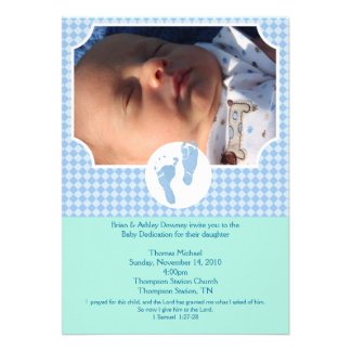 Baby Feet Blue Baptism Dedication 5x7 photo Personalized Announcement