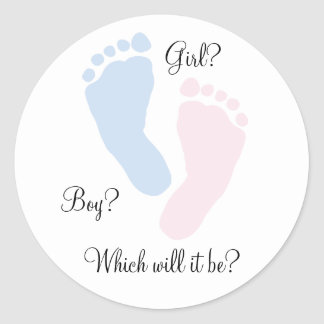 Baby Feet Footprint Gender Reveal Round Sticker