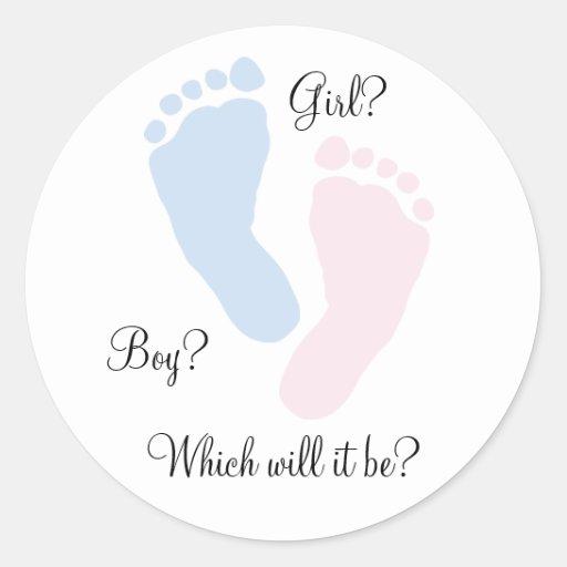 Baby Feet Footprint Gender Reveal Stickers