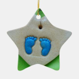 baby feet in blue ceramic ornament