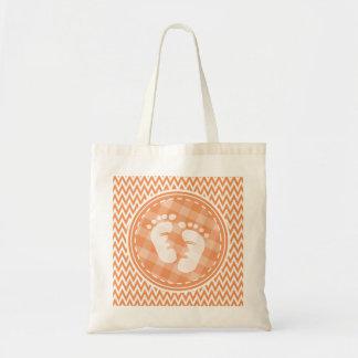 Baby Feet Orange and White Chevron Bags