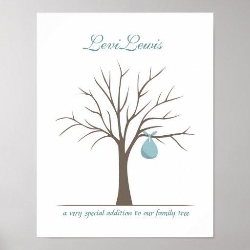 baby fingerprint tree blue poster zazzle