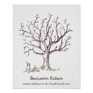 Baby Fingerprint Tree Poster (Bunnies)