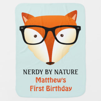 Baby First Birthday Cute and Funny Nerd Fox Receiving Blanket