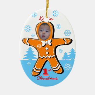 Baby First Christmas Gingerbread Oval Ornament 1