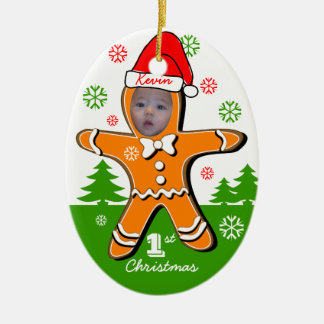 Baby First Christmas Gingerbread Oval Ornament 2