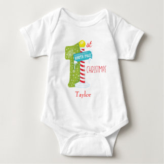 Baby First Christmas North Pole Theme Baby Bodysuit