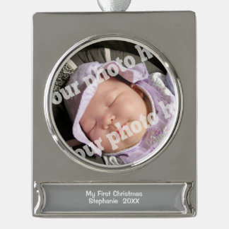 Baby First Christmas Ornament Add Babys Photo Silver Plated Banner Ornament
