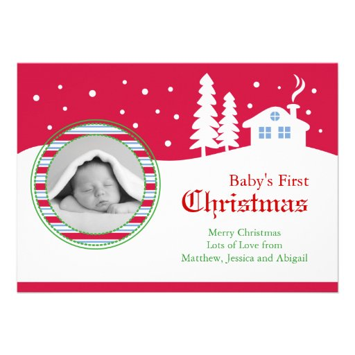 Baby First Christmas Photo Card Personalized Invite