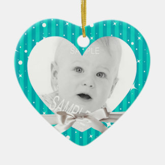 Baby First Christmas Photo in Heart Turquoise Blue Ceramic Heart Decoration