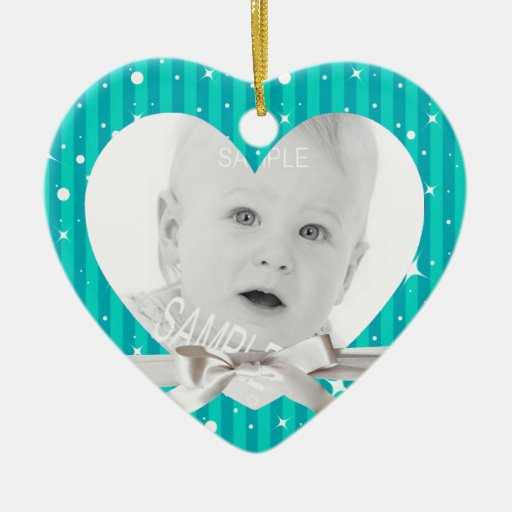 Baby First Christmas Photo in Heart Turquoise Blue Ornament