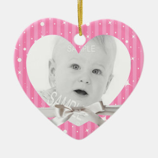 Baby First Christmas Photo in Pink Heart Shape Ceramic Heart Decoration