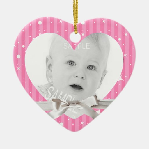 Baby First Christmas Photo in Pink Heart Shape Ornaments