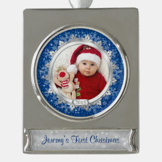 Baby First Christmas Photo Template Blue Snowflake Silver Plated Banner Ornament