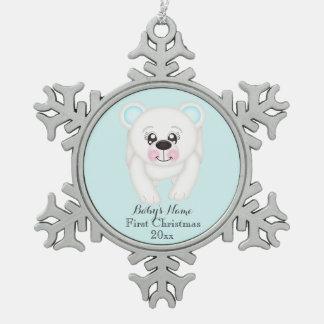 Baby First Christmas Polar Bear Blue Ornament