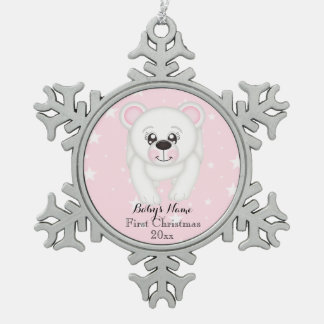 Baby First Christmas Polar Bear Pink Personalized Snowflake Pewter Christmas Ornament