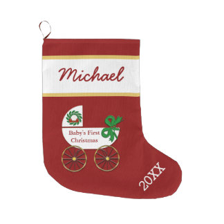 Baby First Christmas Stocking with baby buggy Large Christmas Stocking