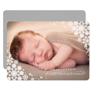 Baby First Christmas Winter Snowflakes Photo Card 13 Cm X 18 Cm Invitation Card