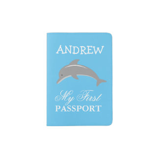 Baby first passport holder with cute grey dolphin