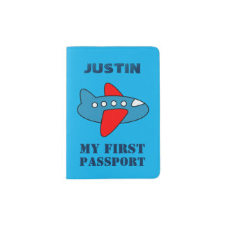 Baby first passport holder with toy airplane