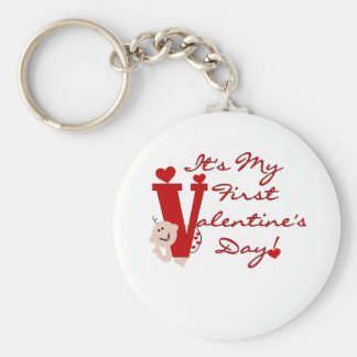 Baby First Valentine's Day Basic Round Button Key Ring