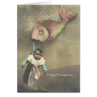 Baby Flying Fish Poisson d'avril April Fool's Day Card