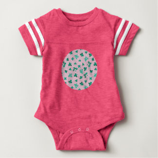 Baby football bodysuit with clover leaves on pink