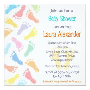 Footprint baby shower invitations zazzle baby footprints baby shower invitation filmwisefo