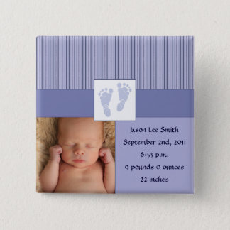 Baby Footprints Birth - Blue 15 Cm Square Badge