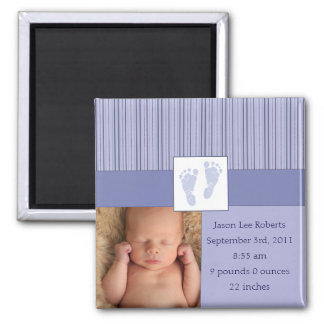 Baby Footprints Birth - Blue Square Magnet