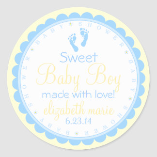 Baby Footprints-Blue and Yellow-Baby Shower Round Sticker