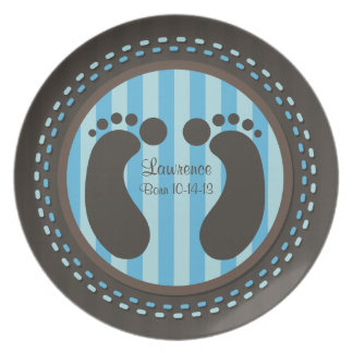 Baby Footprints - Blue - Keepsake Plate