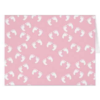 Baby Footprints (Footsteps) - White Pink Card