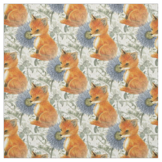 Baby Fox Blue Floral Ivy Fabric