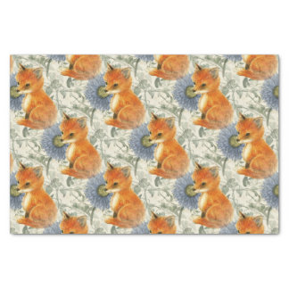 Baby Fox Blue Floral Ivy Tissue Paper