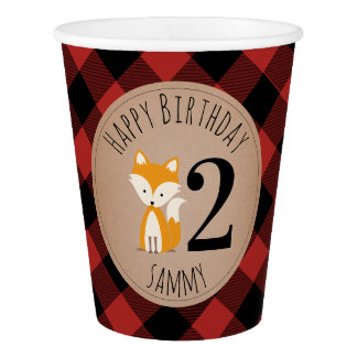 Baby Fox Lumberjack Plaid Birthday Paper Cup