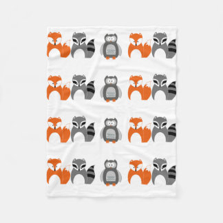 Baby Fox Owl Raccoon Throw Fleece Blanket""