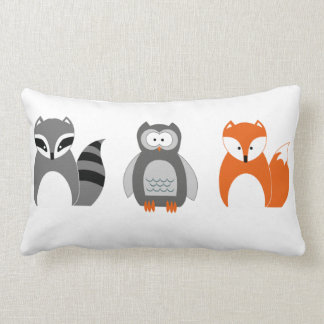 Baby Fox Owl Raccoon Throw Pillow