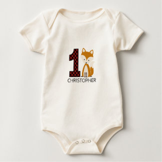 Baby Fox Plaid First Birthday Shirt