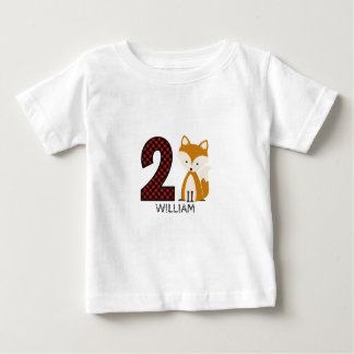 Baby Fox Plaid Second Birthday Shirt
