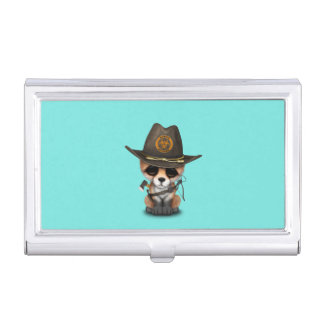 Baby Fox Zombie Hunter Business Card Holder