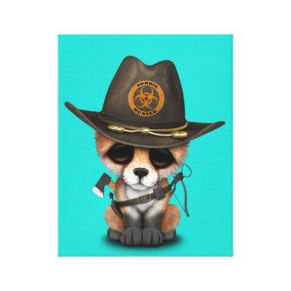 Baby Fox Zombie Hunter Canvas Print