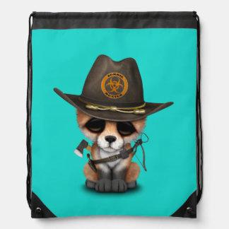 Baby Fox Zombie Hunter Drawstring Bag