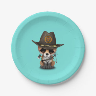Baby Fox Zombie Hunter Paper Plate