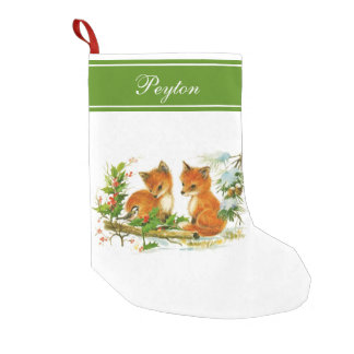 Baby Foxes Holly Personalized Christmas Stocking Small Christmas Stocking