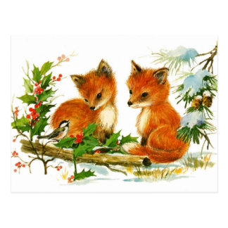 Baby foxes listening to bird postcard