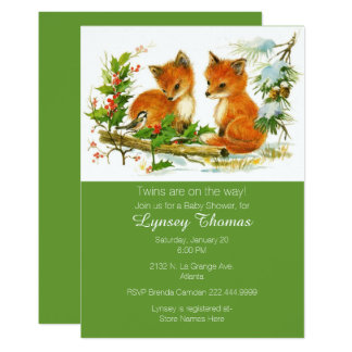 Baby Foxes Twins Baby Shower Invitation